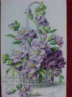 Cpa Gaufrée BOUQUET De FLEURS MAUVES Et VIOLETTES ,1906 ,  Flowers In Basket Purple Embossed   Recto Verso Prix Fixe - Fleurs