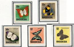 (cl.37 - P.11) Rhodésie * N° 244 à 248 - Papillons - - Schmetterlinge