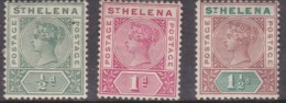 St Helena, Queen Victoria, 1890-7, 1/2d, 1d, 1 1/2d, MH * - Great Britain (former Colonies & Protectorates)