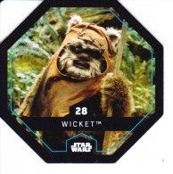 STAR WARS 2015 Vignette Jeton Image Carte LECLERC Disney Numéro 28 WICKET - Episode I