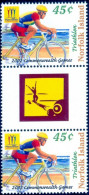 SPORTS-CYCLING-TRIATHLON-GUTTER PAIR-2002 COMMONWEALTH GAMES-NORFOLK ISLANDS-SCARCE-MNH-B9-583 - Ciclismo