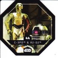 STAR WARS 2015 Vignette Jeton Image Carte LECLERC Disney Numéro 44 C 3PO & R2 D2 - Episode I
