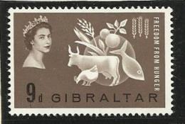 1963 Gibilterra Gibraltar FAME  FREEDOM FROM HUNGER Serie (159) MLH* - Alimentazione