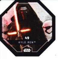 STAR WARS 2015 Vignette Jeton Image Carte LECLERC Disney Numéro 49 KYLO REN - Episode I