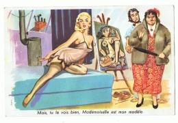 CP ILLUSTRATEUR  CARRIERE - MAIS, TU LE VOIS BIEN, MADEMOISELLE EST MON MODELE- ECRITE EN 1959 - Carrière, Louis