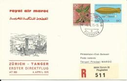 RF 75.15, Royal Air Maroc, Zurich - Tanger, Recommandé, Caravelle, 1975 - First Flight Covers
