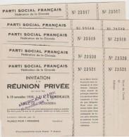 BORDEAUX : PARTI SOCIAL FRANCAIS : 5 INVITATIONS A UNE REUNION PRIVEE - Vieux Papiers