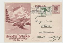 OYW38 / P258 + Marke + Werbestempel. Rückseitig Unterschriften Von Teilnehmern Der Spiele - Winter 1936: Garmisch-Partenkirchen