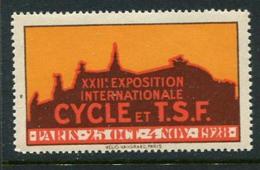 "1928 XXII Exposition Internationale Cycle Et TSF Paris Poster Stamp Vignette Reklamemarke Never Hinged 2 1/8 X 1 1/4"" - Cinderellas"