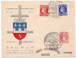 Enveloppe Souvenir (illustrée Coq) '20e Exposition Consacrée à La Libération' De Saumur De Mai 1945 - Marcophilie (Lettres)