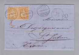 Schweiz Sitzende Helvetia Genève 1868-07-01 Grenzrayonbrief RL 2tes Gewicht - Lettres & Documents