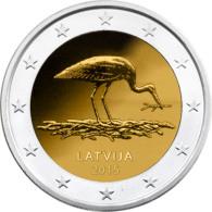 2 EURO COMMEMORATIVE LETTONIA LETTLAND LATVIA Natura In Pericolo Cicogna Nature En Danger Cicogne 2015 - Lettonie