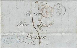 1859- Lettre D'Annecy ( Royaume De Sardaigne) Pour Avignon - Entrée  SARDAIGNE-SEYSSEL A.C/  A - Marcophilie (Lettres)