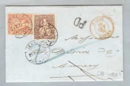 Schweiz Sitzende Helvetia Genève 1870-10-29 Brief Nach Annecy Sitz. Zu#38+43 - 1862-1881 Helvetia Assise (dentelés)