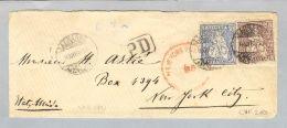 Schweiz Sitzende Helvetia 1868-12-08 Brief Lausanne-NY Sitzende 30+50Rp. - Lettres & Documents