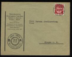 S4957 DR Saar Werbe Briefumschlag Drathwaren Fabrik: Gebraucht Hüsten - Siegen 1934 , Bedarfserhaltung. - Covers & Documents
