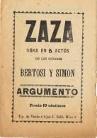 17789. Programa Obra Teatro ZAZA De Bertosi Y Simon. Barcelona 1900-1910 - Programas