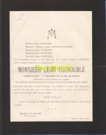FAIRE PART MORTUAIRE DOODSBRIEF 1929 TOURNAI LEON COUROUBLE BOURGOIS - Décès