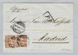 Schweiz Sitzende Helvetia 1869-07-21 Brief>Madrid Sitzende 2x50Rp.Zu#43 - Briefe U. Dokumente