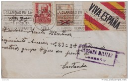 GUERRA CIVIL, DE LOGROÑO A SANTANDER, LOCAL Y ETIQUETA, CENSURA DE LOGROÑO - 1931-50 Cartas