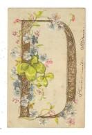 CPA Fantaisies - Carte Gaufrée - Lettre D Dorée Fleurs Trèfles - Fantaisies