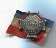P047 ANCIEN INSIGNE CONCOURS DE GYMNASTIQUE 1927 BEAUCOURT FRANCHE COMTE - Badges & Ribbons