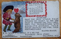 USA - Hillsbobo , Wis. - Richard's Drug Store - Calendar February 1912 / Calendrier Février 1912 - Fantaisie - (n°6048) - Etats-Unis