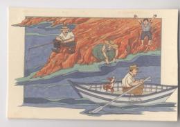 Illustration Signée Anne-Odile HUET-HUMEAU - Scène De Bord De Mer - Illustrateurs & Photographes