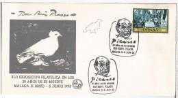 MALAGA MAT 20 AÑOS MUERTE DE PICASSO SELLO PERFORADO PERFIN DOVE PALOMA ARTE - Picasso