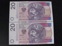 PAREJA CORRELATIVA DE POLONIA DE 20 ZLOTYCH DEL AÑO 2012 SIN CIRCULAR-UNCIRCULATED (BANKNOTE) - Polonia