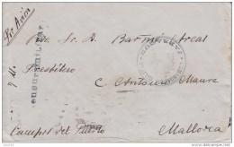 GUERRA CIVIL, DEL FRENTE DE GUADALAJARA A MALLORCA, CENSURA MILITAR Y MARCA DE LA COMDANCIA MILITAR DE JADRAQUE, RARA - 1931-50 Storia Postale