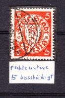 DR Danzig 1924,1V,Staatswappen,Mi 193,PLATTENFEHLER,rechte Untere 5 Beschädigt,Gestempelt(E4830) - Danzig