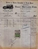 """FACTURE """" LOCATION DE VOITURES DE LUXE GARAGE HUBERT MATAGNE à LIEGE """" 1926 - Taxe - Automobile"""