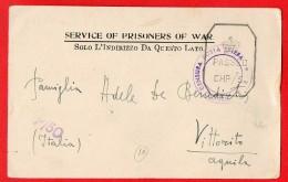 PRIGIONIERO DI GUERRA-FRANCHIGIA- POW CAMP 15 BOMBAY INDIA-PER VITTORITO AQUILA-244 - Oorlog 1939-45