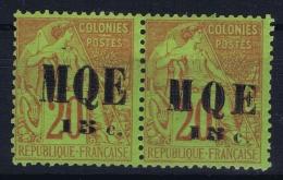 Martinique:  Yv Nr 2 + 2 A MH/* Falz/ Charniere Grande Et Petit MQE Tenant  Signed/ Signé/signiert 2x - Martinique (1886-1947)