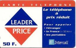 CARTE-PREPAYEE-50F-31/12/ 2002-INTERCALL-LEADER PRICE-TELEPHONE A PRIX REDUIT-TBE- - Altre Schede Prepagate