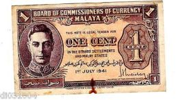 MALAYA Billet 1 $ DOLLAR 01/07/ 1941 P6  KING GEORGE V  BON ETAT - Banknotes