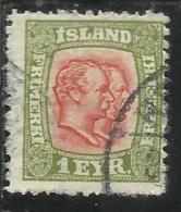 ISLANDA ICELAND ISLANDE 1907 1908 KING CHRISTIAN IX AND FREDERIK VIII RE 1a 1 USATO USED OBLITERE´ - Oblitérés