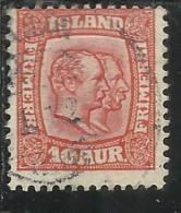ISLANDA ICELAND ISLANDE 1907 1908 KING CHRISTIAN IX AND FREDERIK VIII RE 10a 10 USATO USED OBLITERE´ - Oblitérés