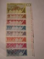 Slovénie- Série De 8 Billets De 1-2-5-10-50-100-500-1000 Tolar VZOREK SPECIMEN Neufs/UNC - Slovénie