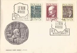 E)1962 POLAND, LENIN ILUSTRATED, LENIN IN POLAND, POLITICAL, REVOLUCIONARY, COMMUNIST, FDC - 1944-.... Republic