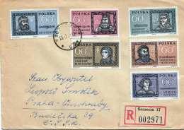 POLSKA 1951 - 6 Fach Frankierung Auf R-Brief Gel.v.Szezecin > Praha - 1944-.... Republik
