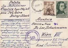 POLSKA 1948 - 2 Sondermarken Auf Pk Gel.v.Jelenia? > Wien, Österr,Zensurstempel 445 - 1944-.... Republik