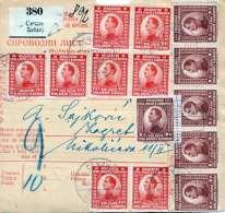 JUGOSLAWIEN 1923 - 31 Fach Frankierung Auf Paketkarte Von Secanj > Zagreb - 1919-1929 Königreich Der Serben, Kroaten & Slowenen