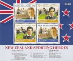 New Zealand,  Scott 2016 # B138a,  Issued 1990,  M/S Of 4,  MNH,  Cat $ 3.75,  Rugby - New Zealand