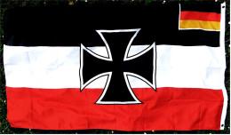 Flagge / Fahne Eisernes Kreuz Mit Kleiner Integrierter Deutschland-Fahne - Material : Polyester - Größe Ca. 150 X 88 Cm - Andere Sammlungen