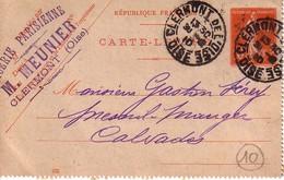 ENTIER POSTAL SUR CARTE  LETTRE.TYPE  SEMEUSE.CACHET CLERMONT DE L'OISE - 1877-1920: Periodo Semi Moderno