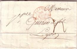 DROME - VALENCE - T12 EN ROUGE DU 28-3-1832 - TAXE MANUSCRITE 4 - LETTRE POUR LYON - DROME - ENTETE LE RECEVEUR GENERAL - Marcophilie (Lettres)