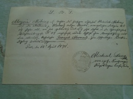 D137987.41  Aloysia MÖBIUS - Joseph MORAVEC  - 1871  -Pest - Fiançailles
