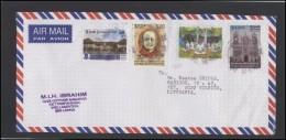 SRI LANKA Letter Brief Postal History Cover LK 003 Air Mail Personalities Yoga Architecture Church - Sri Lanka (Ceylon) (1948-...)